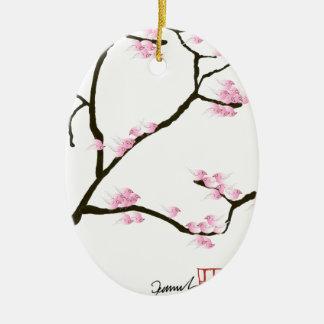 fleur de Sakura avec les oiseaux roses, fernandes Ornement Ovale En Céramique
