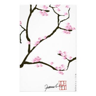 fleur de Sakura avec les oiseaux roses, fernandes Papier À Lettre Personnalisable