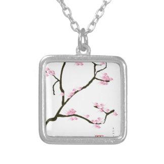 fleur de Sakura avec les oiseaux roses, fernandes Pendentif Carré