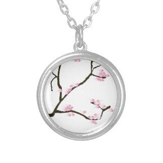 fleur de Sakura avec les oiseaux roses, fernandes Pendentif Rond