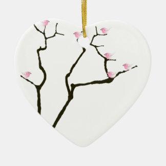 fleur de Sakura et oiseaux roses, fernandes Ornement Cœur En Céramique
