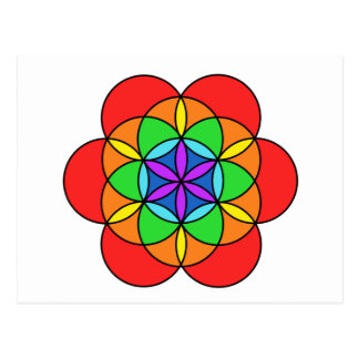 Fleur de sept Chakra de la vie Carte Postale