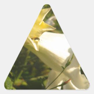 Fleur de vigne de trompette avec une guêpe autocollants en triangle