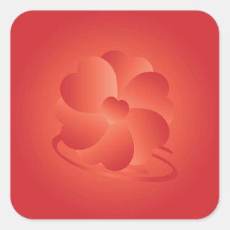Fleur des coeurs sticker carré
