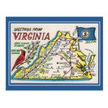 Fleur d'état vintage de carte de la Virginie de Cartes Postales