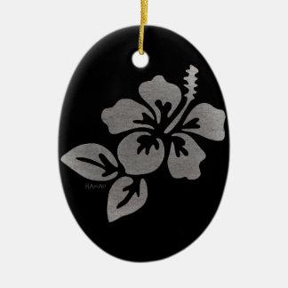 Fleur d'Hawaï Ornement Ovale En Céramique