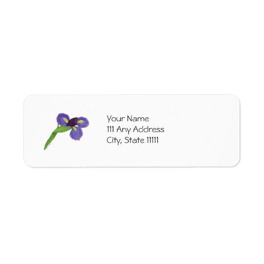 Fleur d'iris japonais étiquette d'adresse retour