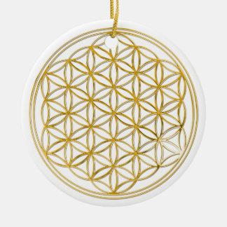 Fleur d'or de la vie  , petite ornement rond en céramique