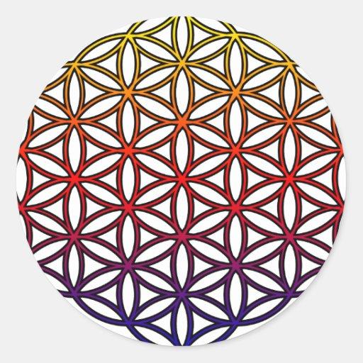 Fleur du symbole sacr de la g om trie de la vie adh sif rond zazzle - Symbole de la vie ...