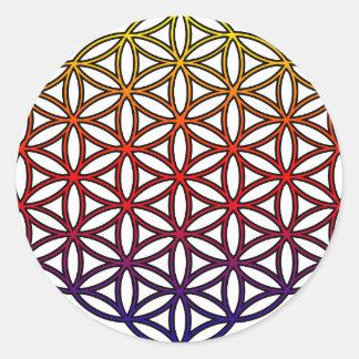 Fleur du symbole sacré de la géométrie de la vie - sticker rond