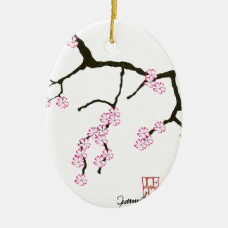 Fleur élégante 3 de Fernandes Sakura Ornement Ovale En Céramique