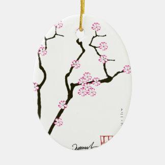 Fleur élégante 5 de Fernandes Sakura Ornement Ovale En Céramique