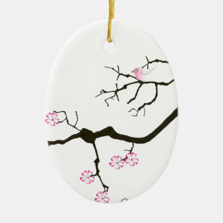 fleur élégante de Sakura de fernandes et oiseau Ornement Ovale En Céramique