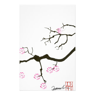 fleur élégante de Sakura de fernandes et oiseau Papeterie