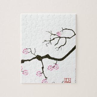 fleur élégante de Sakura de fernandes et oiseau Puzzle