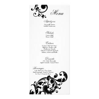 Fleur en filigrane florale blanche de noir de 25 c double carte personnalisée