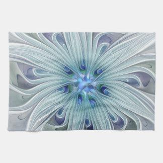 Fleur en pastel bleue moderne d'abrégé sur floral serviette éponge