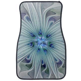 Fleur en pastel bleue moderne d'abrégé sur floral tapis de sol