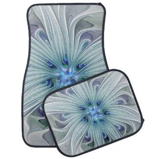 Fleur en pastel bleue moderne d'abrégé sur floral tapis de voiture