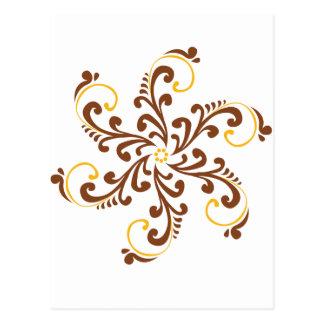 Fleur en spirale de henné carte postale