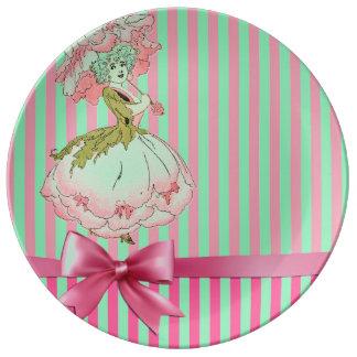 fleur-enfant-pivoine-rose assiette en porcelaine