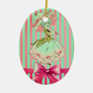 fleur-enfant-pivoine-rose ornement ovale en céramique