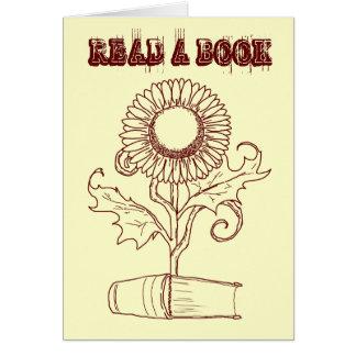 Fleur et un livre cartes de vœux