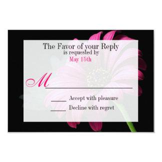 Fleur fuchsia de marguerite de Gerber de roses Carton D'invitation 8,89 Cm X 12,70 Cm