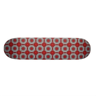 Fleur grise avec le rouge sur le rouge texturisé mini skateboard 18,4 cm