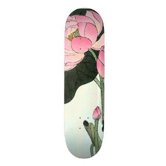 Fleur japonaise vintage des beaux-arts | Lotus Plateau De Planche À Roulettes
