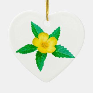 Fleur jaune avec la photo de feuille ornement cœur en céramique