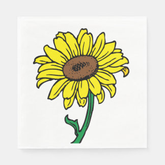 Fleur jaune florale de noce de tournesol serviette en papier