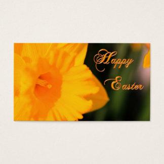 Fleur jaune heureuse de jonquille de ressort de cartes de visite