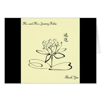 Fleur jaune pâle de Lotus de calligraphie Cartes De Vœux