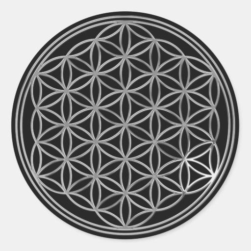 Fleur Live/de noir de l'argent | Autocollants Ronds
