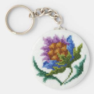 Fleur lumineuse brodée par main porte-clé rond