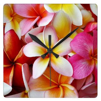 Fleur mélangée blanche jaune rose de Plumeria Horloge Carrée