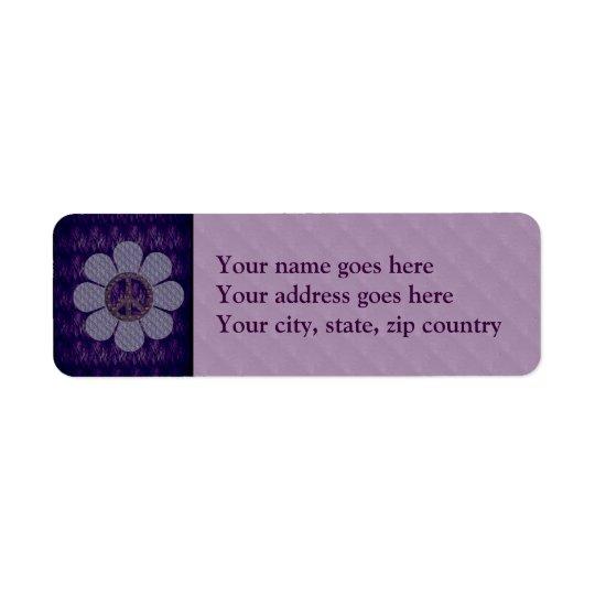 Fleur modelée de paix étiquette d'adresse retour