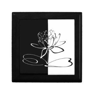 Fleur noire de Yin Yang Lotus blanc Boîte À Souvenirs