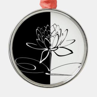 Fleur noire de Yin Yang Lotus blanc Ornement Rond Argenté