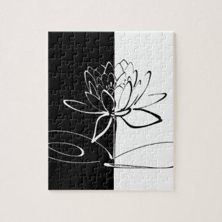 Fleur noire de Yin Yang Lotus blanc Puzzle