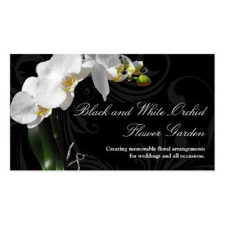Fleur noire et blanche dramatique d orchidée avec cartes de visite personnelles