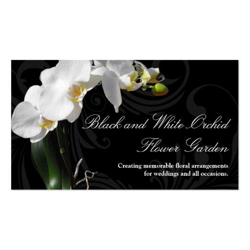 Fleur noire et blanche dramatique d'orchidée avec  cartes de visite personnelles