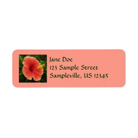 Fleur orange de ketmie étiquette d'adresse retour