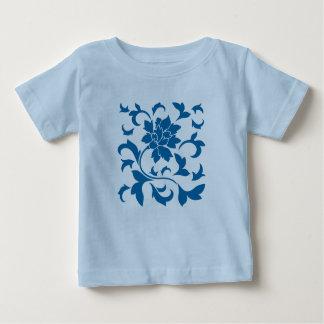 Fleur orientale - bleu de prise d'air t-shirt pour bébé