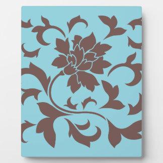 Fleur orientale - chocolat et bleu en pastel plaques d'affichage