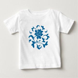 Fleur orientale - motif circulaire bleu de prise t-shirt pour bébé