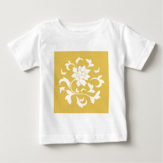 Fleur orientale - motif circulaire jaune de t-shirt pour bébé
