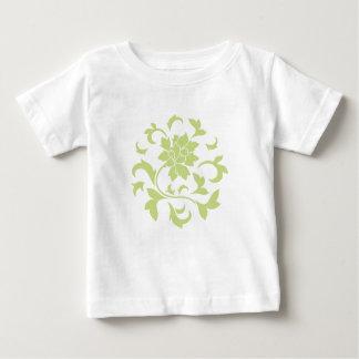 Fleur orientale - motif circulaire vert de t-shirt pour bébé