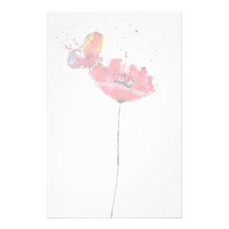 Fleur peinte stylisée de pavot d'aquarelle papier à lettre personnalisé